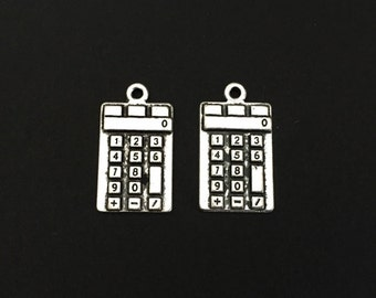 Small Antique Silver Plated Calculator Charms. Education Charms. School Supplies Charms. Handmade Jewelry Pendants. Bracelet Charms.