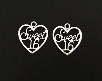 Sweet 16 Charm. Lot of 10 / 20 / 30 / 40 / 50 / 100 PCS Silver Tone Sweet 16 Heart Charms.  Handmade Jewelry Supplies. DIY Craft Supplies.