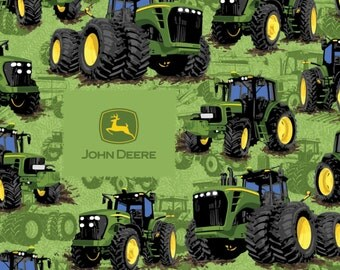 John Deere Tractors Woven Cotton Fabric - By the Yard