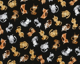 Timeless Treasures Novelty Cats on Black Cotton Fabric - By the Yard