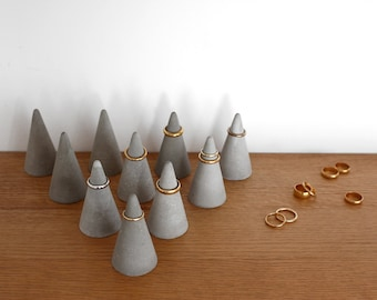 Large Concrete Ring Cone  Set of 10 // Tall Cement Ring Holders