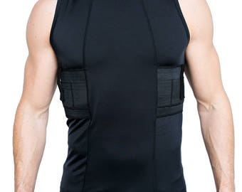 Graystone Mens Concealed Carry Tank Top Gun Concealment Holster Shirt Tactical Clothing in Black White