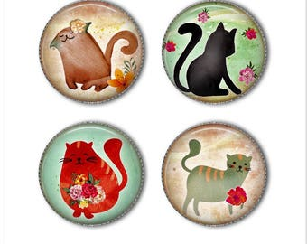 Cat magnets or pins, animal magnets or pins, watercolor cats, refrigerator magnets, fridge magnets, office magnets