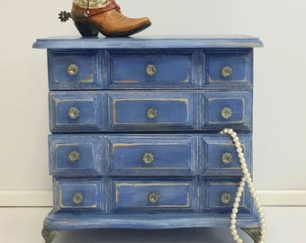 Hand Painted Blue Distressed Upcycled Vintage Jewelry Box