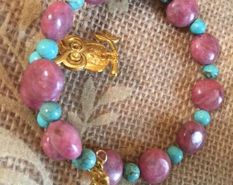 Wise Owl Rhodonite and Magnesite Bracelet