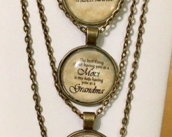 "Antiqued Pendents with Sayings 24"" Chain"