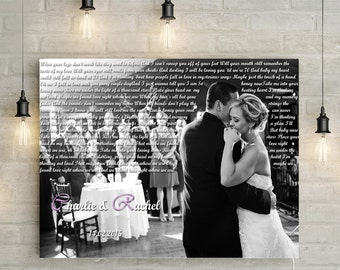 Custom Wedding Portrait With Song Lyrics - personalized wedding photo with first dance lyrics, canvas print or printable