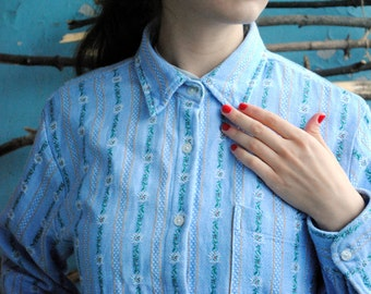 Vintage womens shirt with blue flowers embroidery Marsum