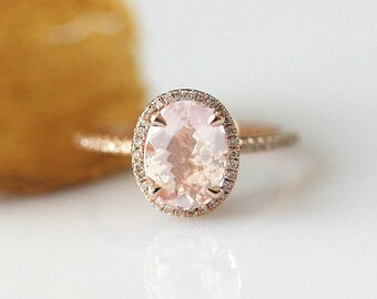 Fancy 6x8mm Oval Cut Morganite Ring 14k Rose Gold Engagement Ring Rose Gold Morganite Wedding Ring Diamond Ring Morganite Rose Gold Ring