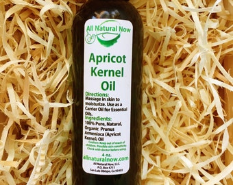 Apricot Carrier Oil/Pure Carrier Oil/Emollient (Moisturizing)/Massage Oil/Rejuvenating/Hydrating/Nourishing/4oz