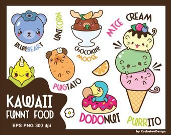 30% OFF, Kawaii clip art, animals clipart, kawaii food clipart, funny clipart, cute animals clipart, ice cream clipart, Commercial use