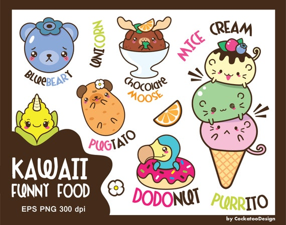 50% OFF SALE, Kawaii clip art, animals clipart, kawaii food ...