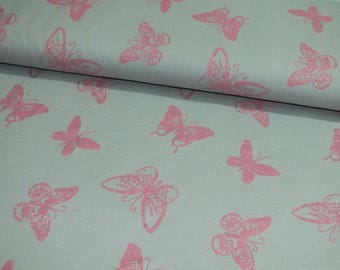 Summer Sweat French Terry grey pink butterfly butterflies glitter fabric 0, 50 m
