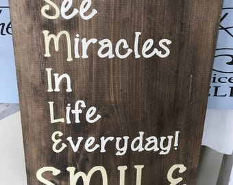 SMILE Wooden Sign / Wall Decor / Wood Signs