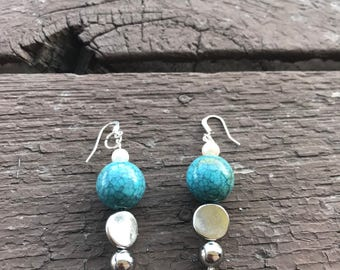 Handcrafted silver and turquoise beaded dangle earrings
