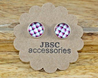 Plaid Earrings, Plaid jewelry, Flannel Jewelry, Flannel earrings, silver earrings, stud earrings, Glass Cabochon , Unique studs, FUN studs