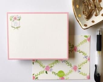 Monogrammed Floral Crest Stationery (25)