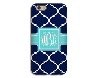 Monogram iPhone 7 case/7 Plus case, navy moroccan tile iPhone 6s Plus case, custom iPhone 6s case, iPhone 6 Plus case/6 case, 3D iPhone case