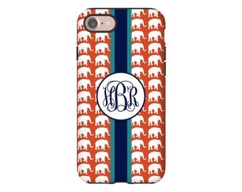 Elephant iPhone 7 case, monogram iPhone X case, iPhone 8 case,  iPhone 8 Plus case, iPhone 7 Plus case, iPhone 6s case/6s Plus/6/6 Plus case