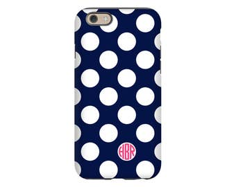 Polka dot iPhone case, monogram iPhone 8 case/8 Plus case, iPhone 7 Plus case, iPhone X case, iPhone 6s Plus case, monogrammed gifts