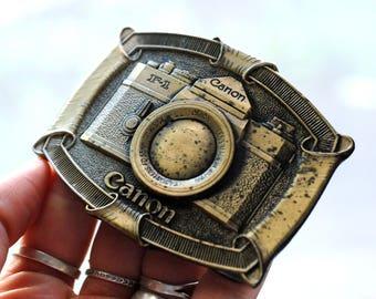 Canon camera brass belt buckle 1970s, Lewis Buckles of Chicago camera belt buckle
