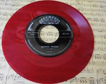 Vintage Ken Griffin Transparent RED Organ Music 45 Record Cielito Lindo and Bummel Petros