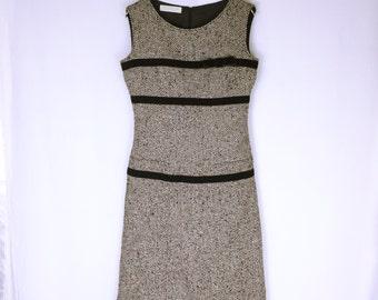 VALENTINO Luxury First Line Ribbon Tweed Sleeveless Dress
