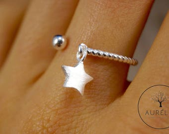 925 sterling silver ring star turned