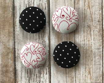Fabric magnets, set of 4, kitchen magnets, fabric button magnets, polka dot magnets, heart magnets