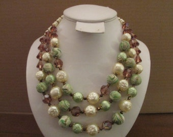 Gorgeous Signed Vendome Triple Strand Faux Pearl & Swirled Green Beads and Root Beer Crystals