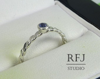 Natural Iolite Flat Rope Silver Ring, 2mm Round Cut Iolite Ring Flattened Braided Sterling Iolite Ring Blue Genuine Iolite Flat Twisted Ring