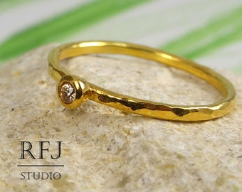 Hammered Citrine Yellow Gold Ring, 24K Gold Plated Yellow 2 mm CZ November Birthstone Ring, Yellow Gold Plated Stack Citrine Ring, Gold Ring