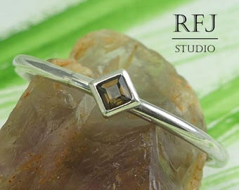 Kite Natural Smokey Quartz Sterling Silver Ring, Dainty Promise Ring Princess Cut 2x2 mm Smokey Quartz Stacked Rhombus Setting Classic Ring