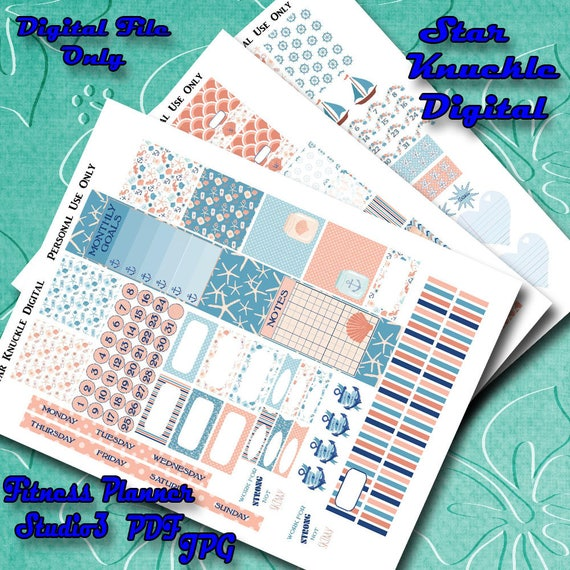 Fitness planner stickers mambi fitness sampler cut file for Happy planner accessories