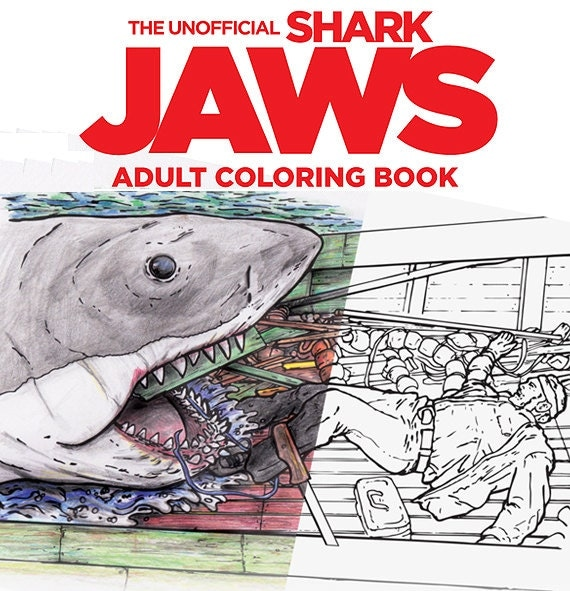 Shark Toys For Adults : Shark jaws adult coloring book
