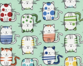 """Cat Fabric, Cartoon Fabric: Timeless Treasures Cute Cat Sketches on Mint 100% cotton Fabric by the yard 36""""x43"""" (TT8)"""