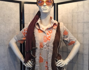 Flower Power sixties seventies vintage top blouse from original from the 1960 's 1970s Hippy M retro