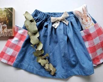 Cotton skirt in pink and white check, gingham skirt, girls skirt, denim skirt, skirt with pockets, toddler skirt with pockets, elastic skirt