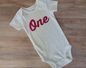 Girl's  Glittery One/ First Birthday Bodysuit **1 in-stock reduced price**
