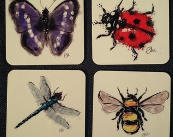 Set of 4 bug coasters // bug coaster set // insect coaster set // butterfly coaster // dragonfly coaster // ladybird coaster // bee coaster