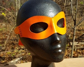 READY TO SHIP Orange Molded Leather Mask with Cloth Tie - Superhero Cosplay Pirate Ninja Costume