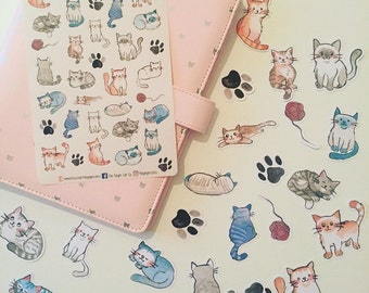 Watercolour Cat Stickers   Ephemera   Planner Stickers, Journal Stickers, Scrapbook, Bullet Journal