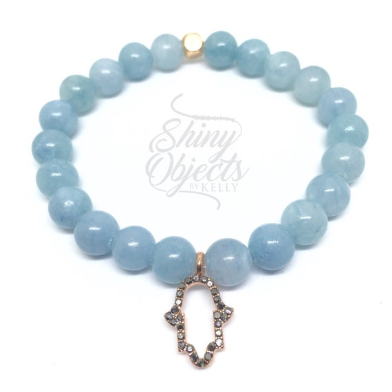 Aquamarine Bracelet with Rose Gold Pave Hamsa Charm