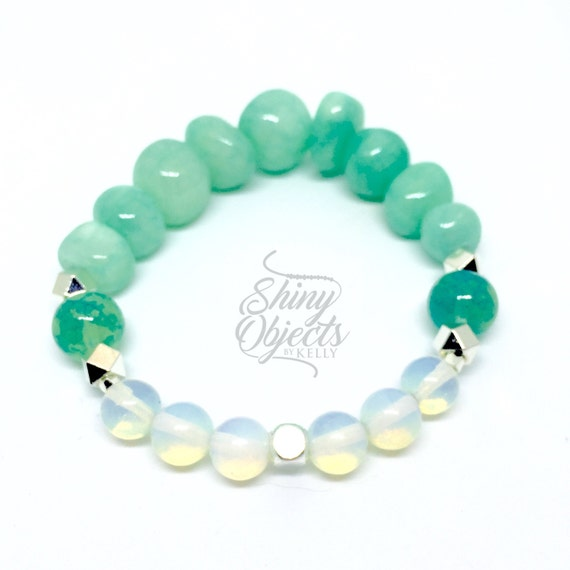 Opalite Moonstone and Amazonite Pebble Bracelet