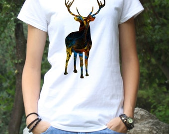 Deer Tee - Art T-shirt -  Fashion Tee - White shirt - Printed shirt - Women's T-shirt