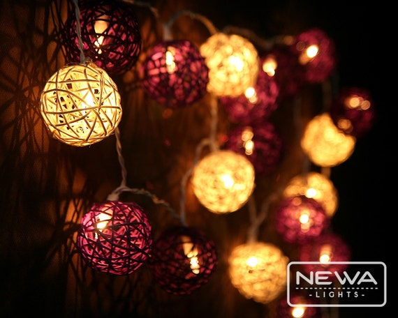 Ball String Lights Indoor : 20 Purple Mixing Rattan Ball Fairy Lights Indoor String Lights