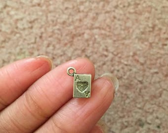 5 Playing Card Charms Antique Silver Tone