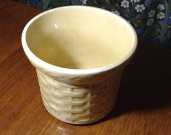 Vintage Lord Nelson Pottery yellow basket weave planter
