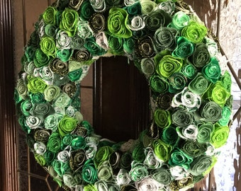 Fabric flower wreath, year round wreath, fabric wreath, all seasons wreath, summer wreath, spring wreath, everyday wreath, front door wreath