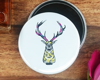 Stag Pocket Mirror 76mm illustration art woodland deer antlers countryside black and white ink chic